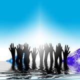 Mãos que levantam-se fora da água Ilustração Royalty Free