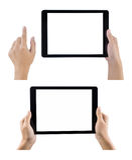 Mãos que mantêm a tabuleta ajustada no fundo branco Fotografia de Stock