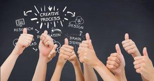 Mãos que mostram os polegares acima com texto criativo do processo por ícones a bordo Fotografia de Stock