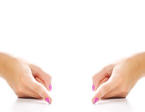 Mãos que mostram uma distância Imagem de Stock Royalty Free