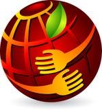 Mãos que prendem o globo ilustração stock