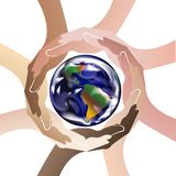 Mãos que protegem o vetor da imagem do ícone do logotipo do mundo ilustração stock