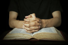 Mãos que rezam na Bíblia Fotografia de Stock Royalty Free