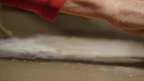 Mãos que rolam a massa com pino do rolo filme