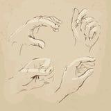 Mãos que tiram o esboço realístico Foto de Stock Royalty Free