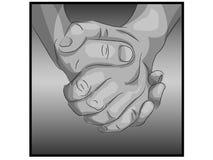 Mãos realísticas abraçadas junto Fotografia de Stock Royalty Free