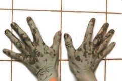 Mãos realmente sujas Foto de Stock Royalty Free