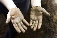 Mãos sujas Imagens de Stock Royalty Free