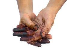 Mãos sujas fotografia de stock