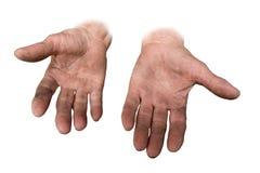 Mãos sujas de sua avó foto de stock