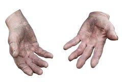 Mãos sujas de uma mulher. Trajeto de grampeamento Imagens de Stock