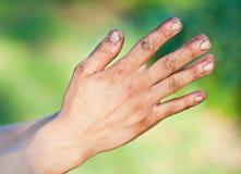 Mãos sujas do homem desabrigado idoso Fotos de Stock Royalty Free