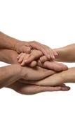 Mãos unidas no branco Imagens de Stock Royalty Free