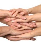 Mãos unidas no branco Fotografia de Stock Royalty Free