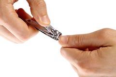 Mãos usando a tosquiadeira de prego fotografia de stock royalty free