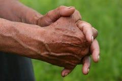 Mãos velhas dos man´s Fotos de Stock
