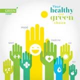 Mãos verdes, amarelas e azuis com símbolos do estilo de vida saudável, alimento, esporte Fotos de Stock Royalty Free