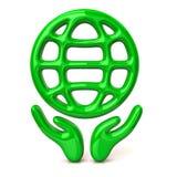 Mãos verdes que guardam o globo Imagem de Stock