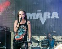 Māra Lisenko, showy singer of Latvian metal band Māra. Jekabpils, Latvia - August 4, 2018: Māra Lisenko, showy singer of Latvian metal band Māra stock photography