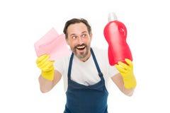 Mądrze czyści rozwiązanie Czyści usługi i gospodarstwa domowego obowiązek Mężczyzna w gumowej rękawiczka chwyta butelki ciekłego  zdjęcia stock