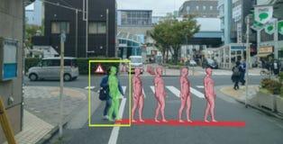 Mądrze sztuczna inteligencja w autonomicznym samochodzie z jaźni technologii napędowym pojęciem samochodowy używa przepowiadania  obraz stock