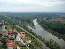 The M�lník town � confluence rivers Vltava and Elbe Royalty Free Stock Photo