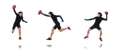 Mężczyzna bawić się futbol amerykańskiego odizolowywającego na bielu zdjęcia royalty free