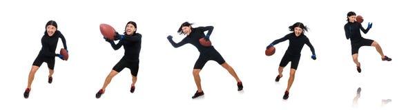 Mężczyzna bawić się futbol amerykańskiego odizolowywającego na bielu fotografia royalty free