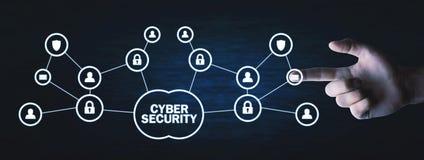 Mężczyzna ręki odciskanie w kędziorku Cyber ochrony pojęcie zdjęcie royalty free
