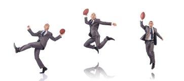 Mężczyzna z futbol amerykański piłką odizolowywającą na bielu zdjęcia royalty free