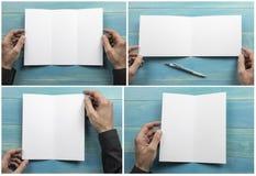 Mężczyzny mienia broszura zdjęcie stock