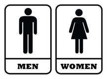 Mężczyzny washroom ikona i kobiety washroom znak royalty ilustracja