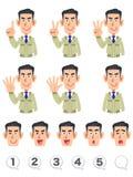 Męski górnego ciała wyrażenie i liczba set budowa sklepu liczenia liczby z palcami royalty ilustracja