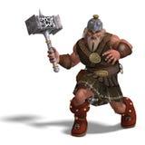 Mächtiger Fantasiezwerg mit einem Hammer Stockfotos