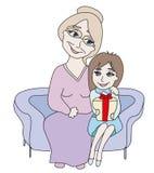 Mädchenöffnungsgeschenk dargestellt von der Großmutter Stock Abbildung