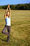 Mädchen-übendes Yoga auf dem Gebiet Lizenzfreie Stockfotografie