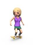 Mädchen 3D, das Trick auf Skateboard durchführt Lizenzfreie Stockfotografie