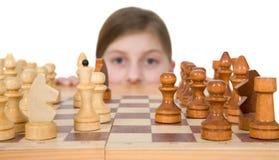 Mädchen-ANG-Schach Lizenzfreies Stockbild
