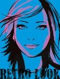 Mädchen auf Blau stock abbildung