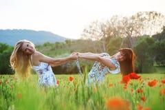 Mädchen auf dem Mohnblumegebiet Stockfotos