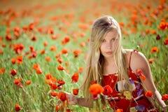 Mädchen auf dem Mohnblumegebiet Stockfoto
