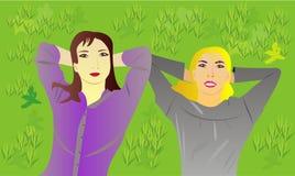 Mädchen auf dem Rasen Lizenzfreies Stockfoto