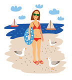 Mädchen auf dem Seestrand Sommer-Hand gezeichnete Vektor-Illustration Lizenzfreies Stockbild