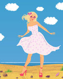 Mädchen auf dem Strand Stockbilder