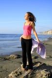 Mädchen auf dem Strand Stockfotos