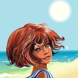 Mädchen auf dem Strand stock abbildung