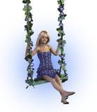 Mädchen auf einem Blumenschwingen - mit Ausschnittspfad Lizenzfreie Stockfotos