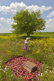 Mädchen auf einem Picknick Stockfoto