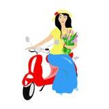 Mädchen auf einem roten Roller Lizenzfreie Stockfotos