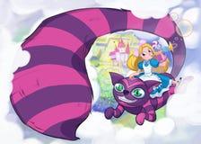 Mädchen auf einer Katze Reizende Kinderillustration vektor abbildung